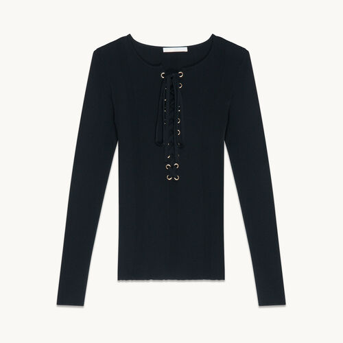 Locknit jumper with lacing - Knitwear - MAJE