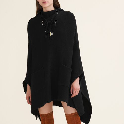 Tube-knit poncho cape - Knitwear - MAJE