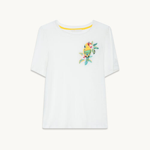 Embroidered linen T-shirt - Tops - MAJE