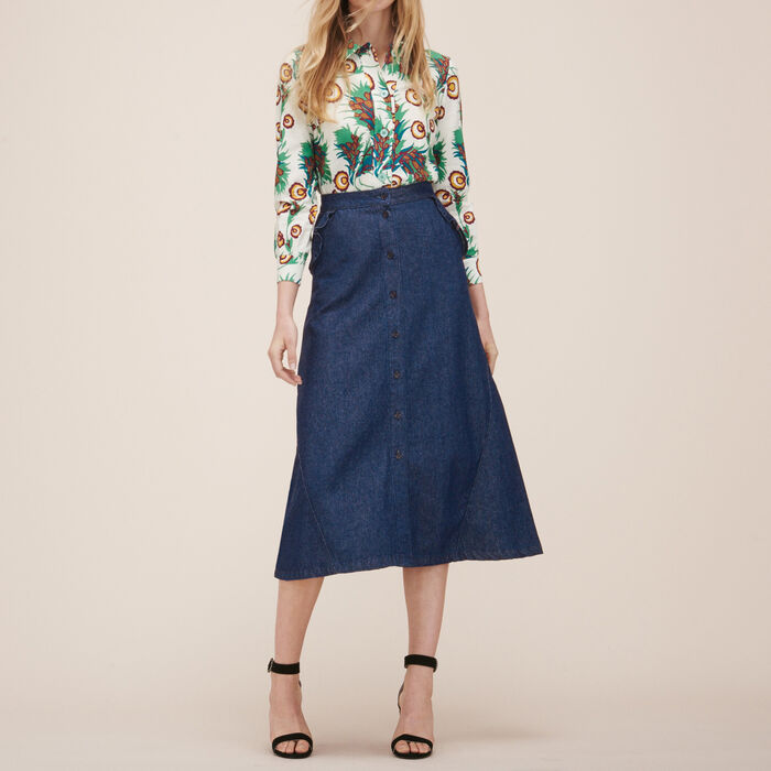 Denim midi skirt -  - MAJE