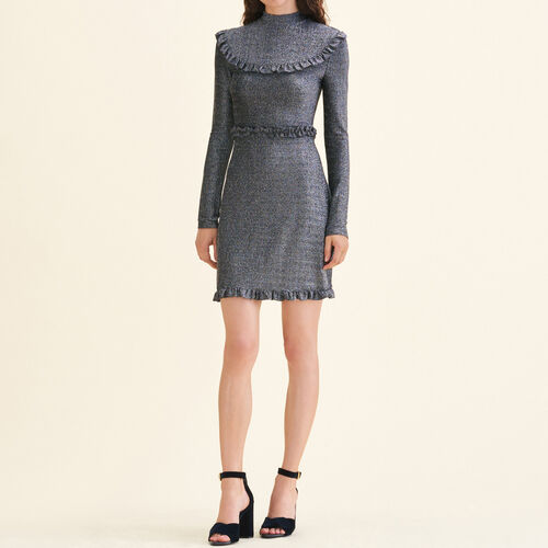 Short knit dress with frills - Dresses - MAJE