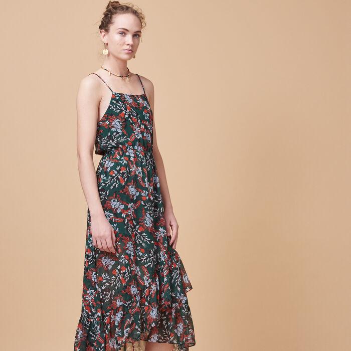Long printed chiffon dress -  - MAJE