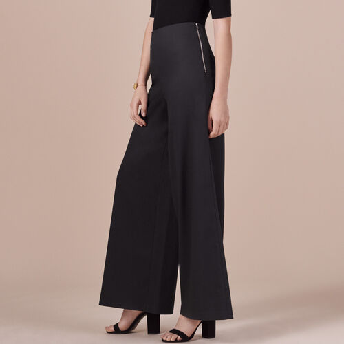 Wide-leg canvas trousers - Trousers - MAJE