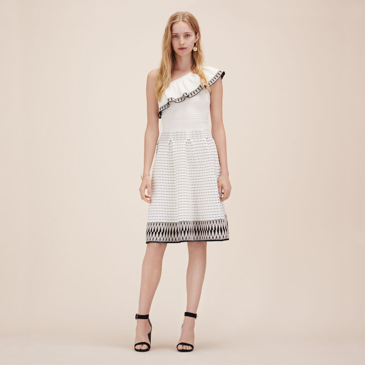 Jacquard knit asymmetrical dress - Dresses - MAJE