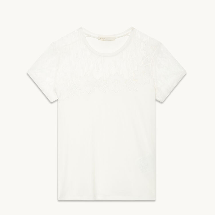 T-shirt with lace and embroidery - Tops - MAJE