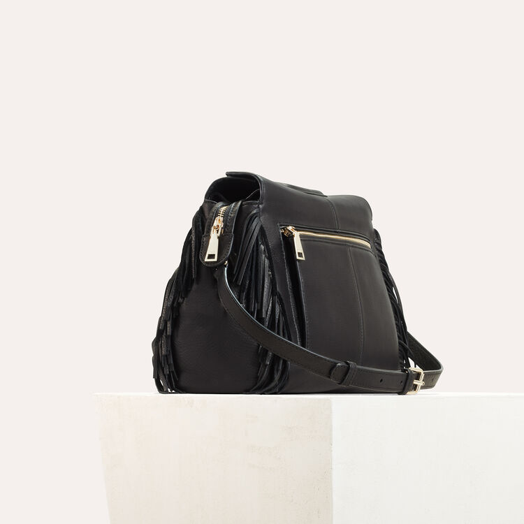 Leather shoulder bag -  - MAJE