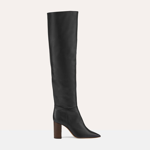 Leather thigh boots with heel - Shoes - MAJE