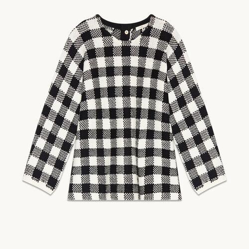 Short gingham jacquard jumper - Knitwear - MAJE