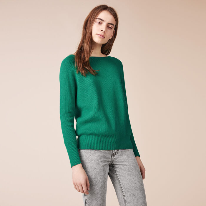 Ribbed knit jumper with detailed back -  - MAJE