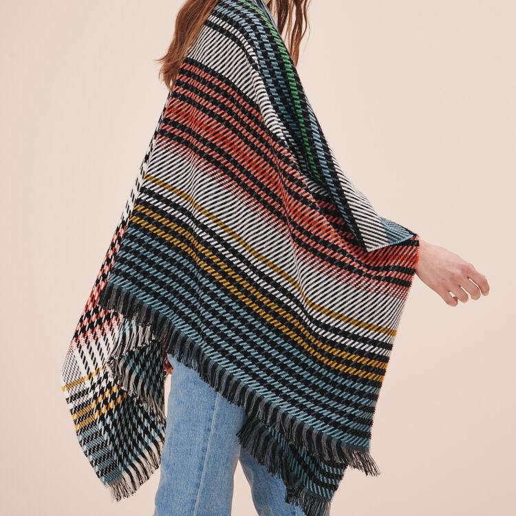 Multi-coloured knit poncho - Scarves - MAJE
