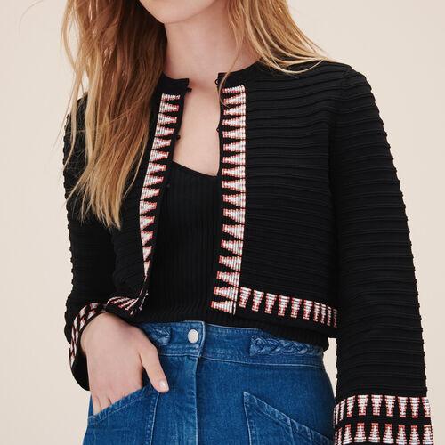 Cropped jacquard cardigan - Knitwear - MAJE