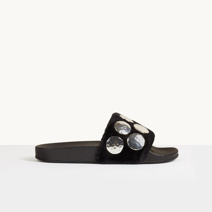 Shearling mules with studs -  - MAJE