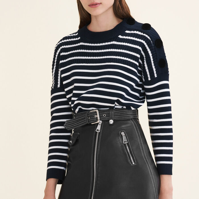 Breton jumper with velvet buttons -  - MAJE