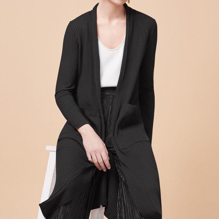 Long tube-knit cardigan - Knitwear - MAJE