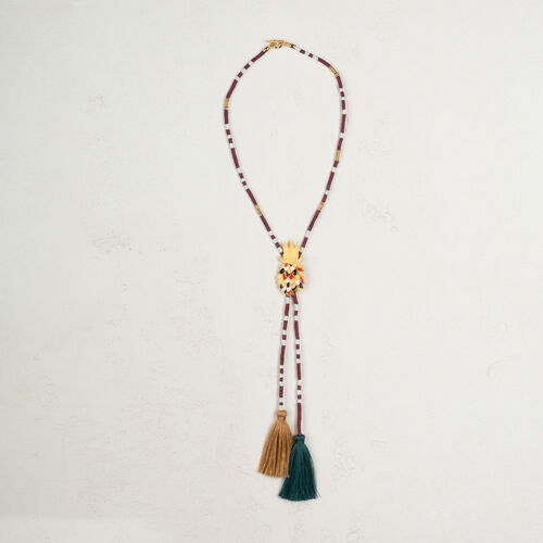 Long necklace with pineapple and tassels - Voir Tout - MAJE