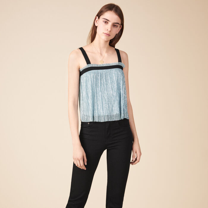 Pleated-effect lurex top. -  - MAJE