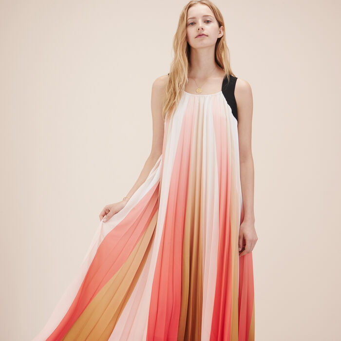 Long multicoloured pleated dress -  - MAJE
