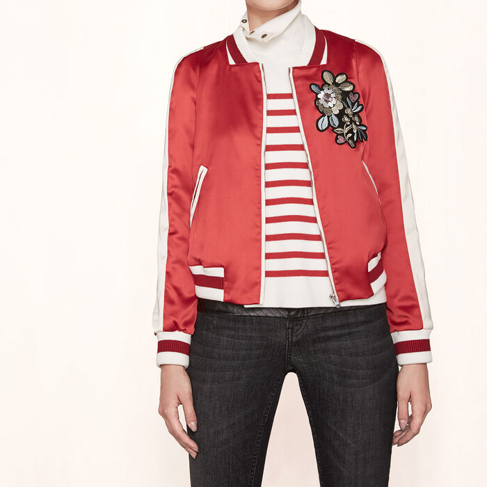 Varsity-style embroidered satin jacket -  - MAJE