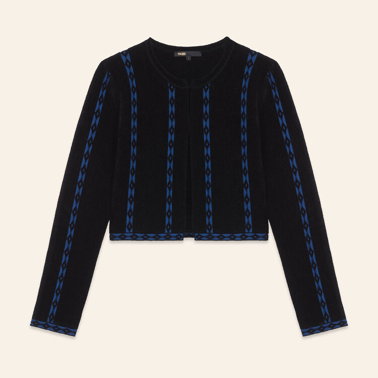 Short cardigan with braid trim - Knitwear - MAJE
