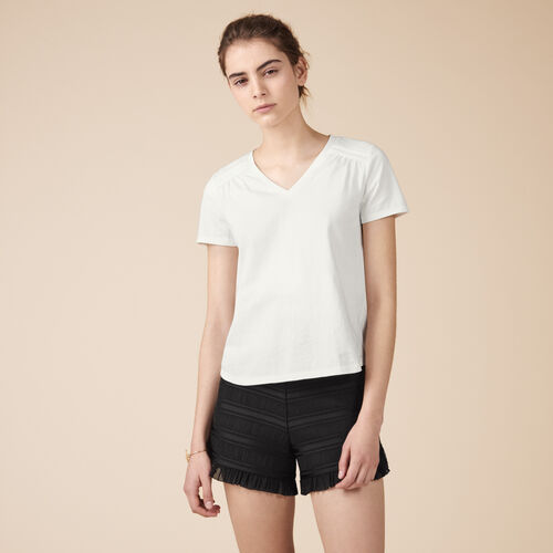 Detailed cotton T-shirt - Tops - MAJE