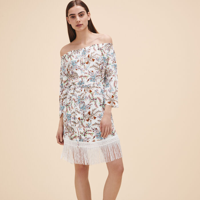 Printed dress with fringes -  - MAJE