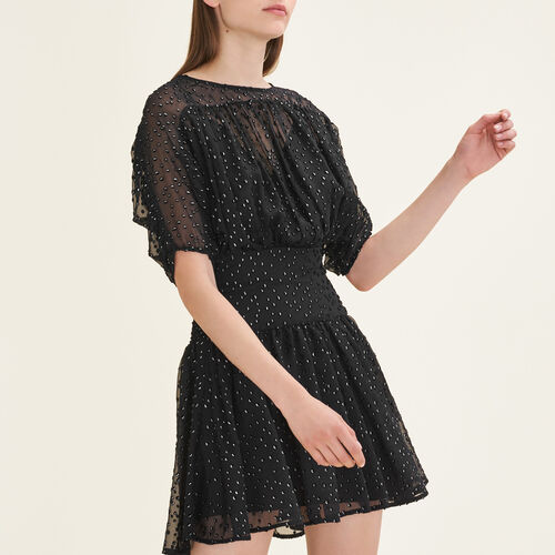 Flocked silk dress - Dresses - MAJE