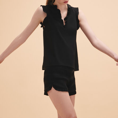 Frilled sleeveless top - Tops - MAJE