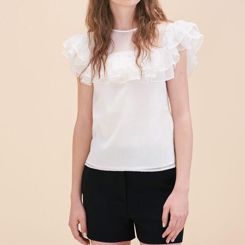 Silk and dotted Swiss dress - Tops - MAJE