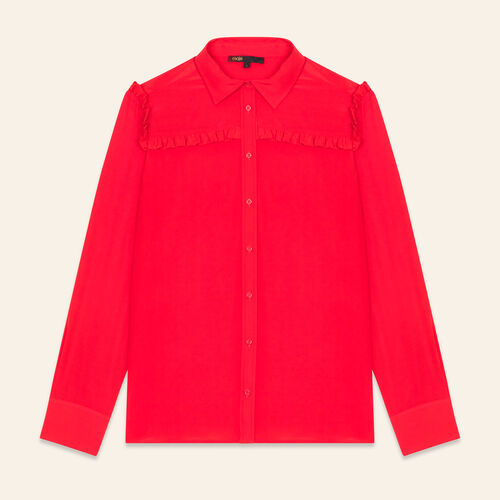 Frilled silk shirt - Tops - MAJE