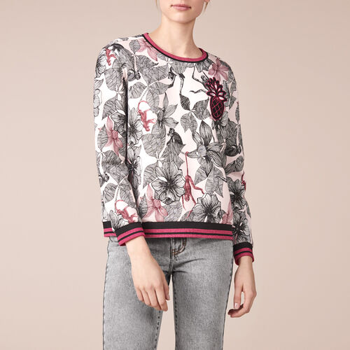Printed cotton embroidered sweatshirt - Knitwear - MAJE