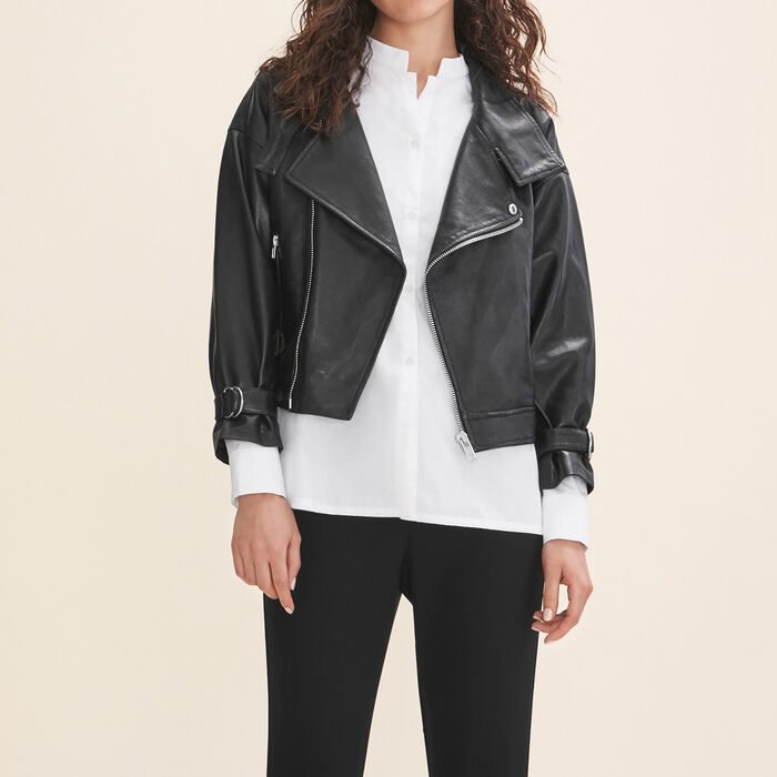 Fitted leather jacket -  - MAJE
