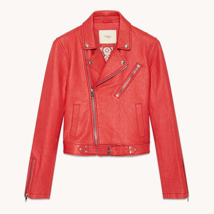 Biker-style leather jacket - Jackets & Bombers - MAJE