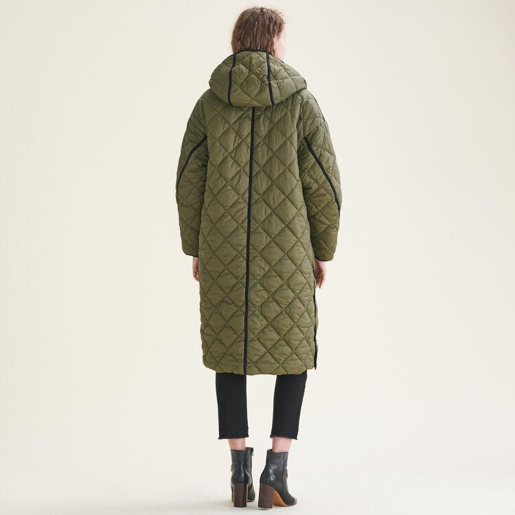 Long reversible down jacket : Coats color Khaki