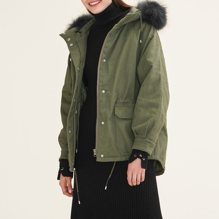 GRILLON Parka with fur hood - Coats - Maje.com