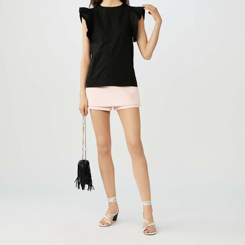 Ruffle armhole top : Tops color Black 210