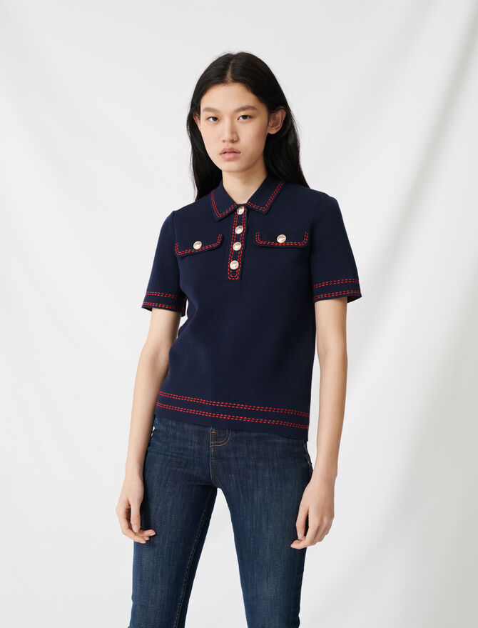 Short-sleeved polo-style jumper - All the collection - MAJE