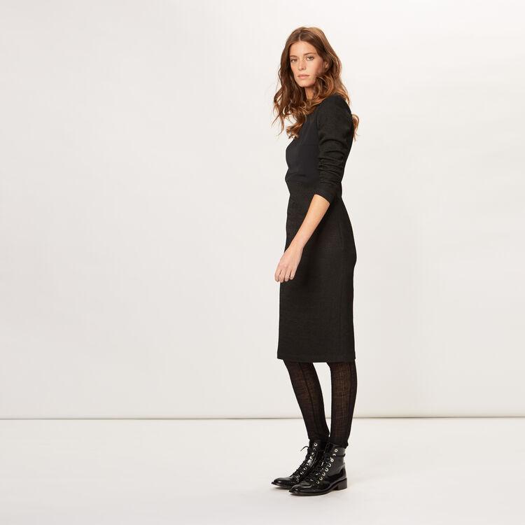 Figure-hugging dress with leather detail : 70% off color Black 210