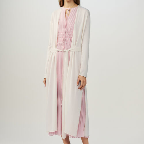 Belted long cardigan : Knitwear color ECRU