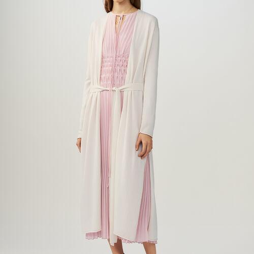 Belted long cardigan : Knitwear color ECRU