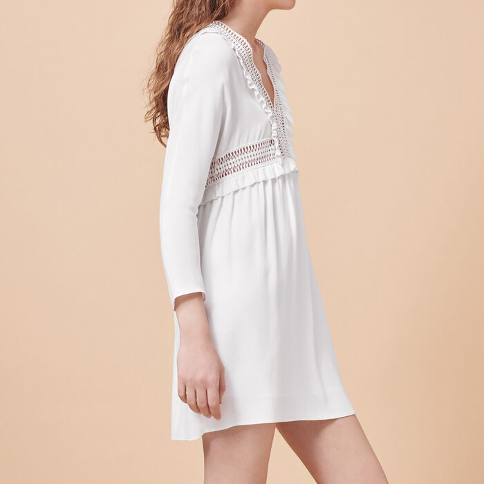 Crêpe dress with openwork details -  - MAJE