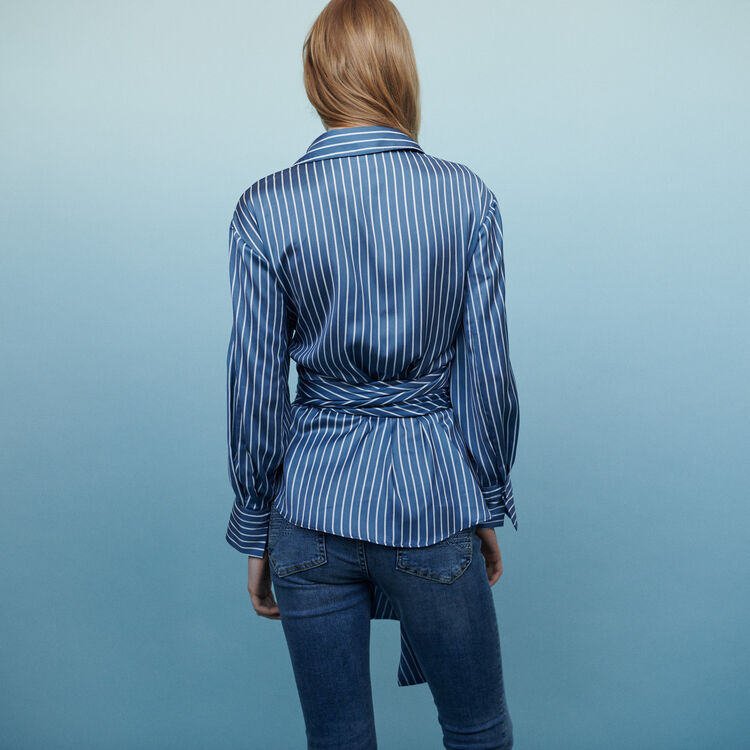 Wrap blouse with stripes  : Shirts color Stripe