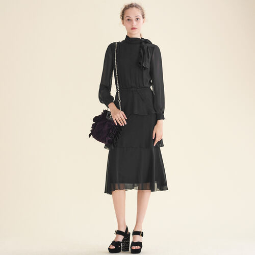 Flowing frilled dress : Dresses color Black 210