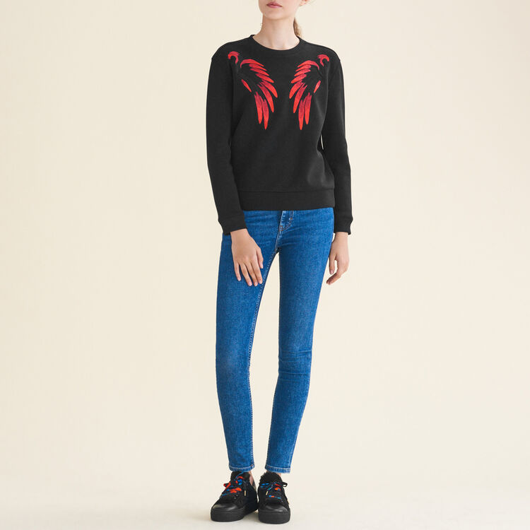 Embroidered neoprene-look sweatshirt : Knitwear color Red