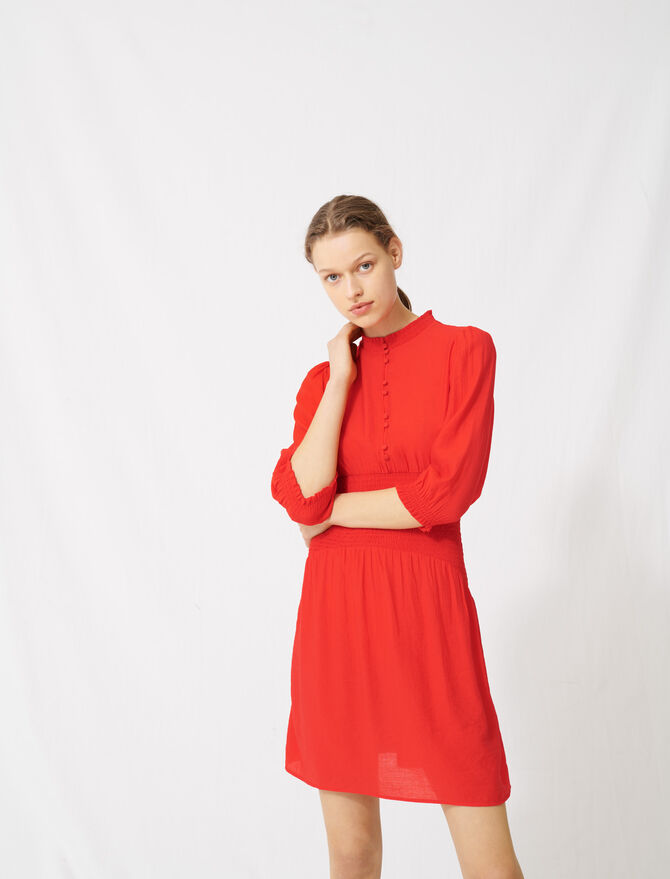Mid-length smocked red dress -  - MAJE
