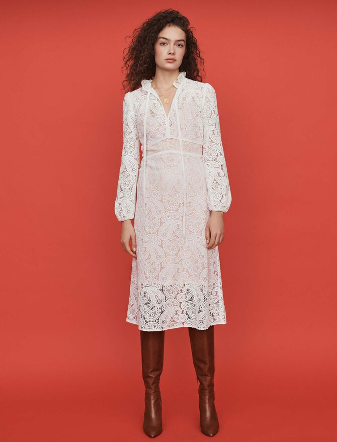 Guipure dress with cashmere detail -  - MAJE
