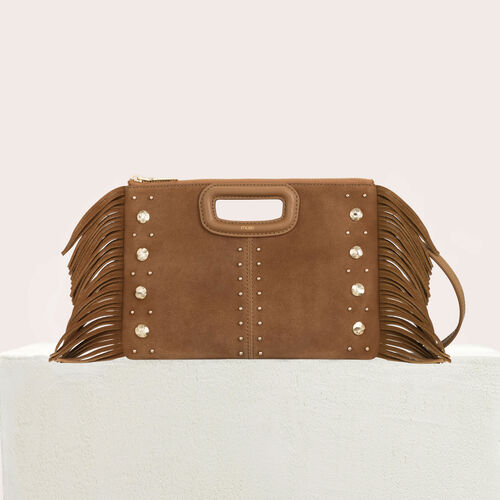 M Duo clutch in suede with studs : M Duo color Camel