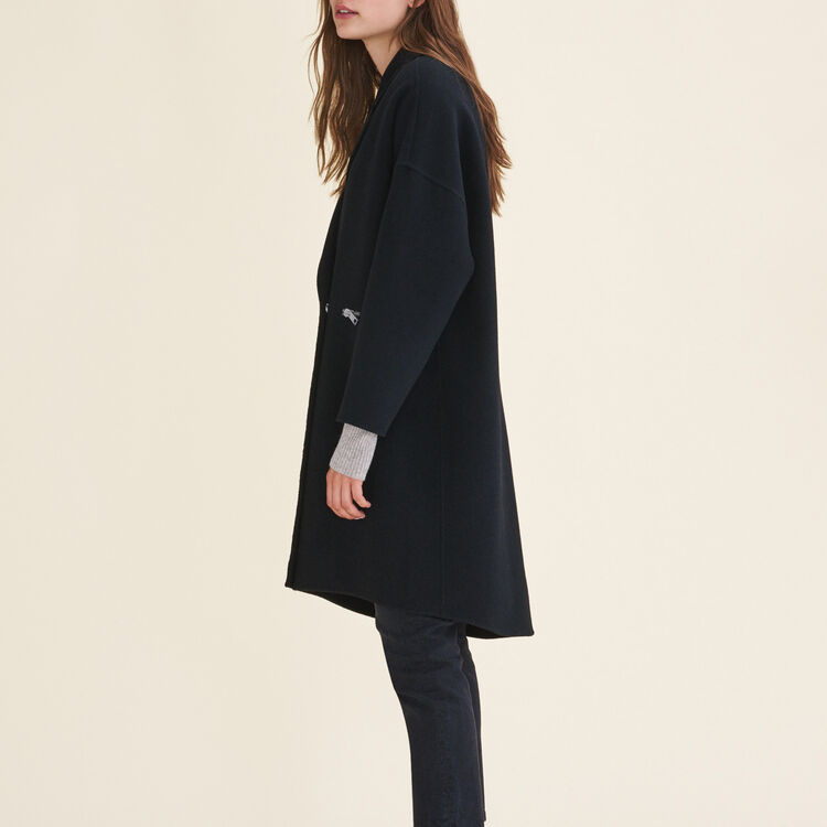 Double-sided wool coat : Coats color Black 210