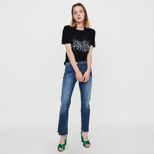 Silk screen printed strass t-shirt : T-Shirts color Black