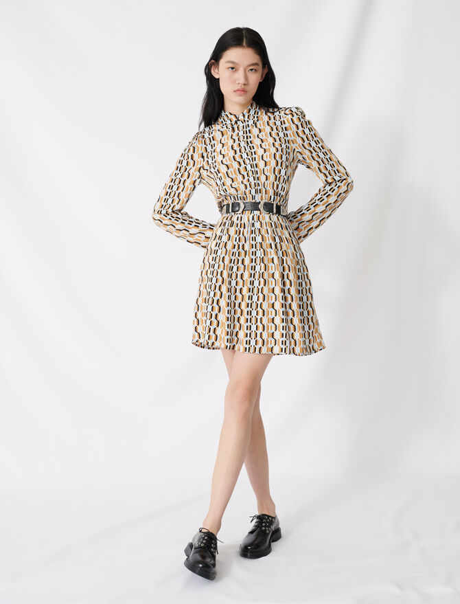Printed smocked crêpe dress - Dresses - MAJE
