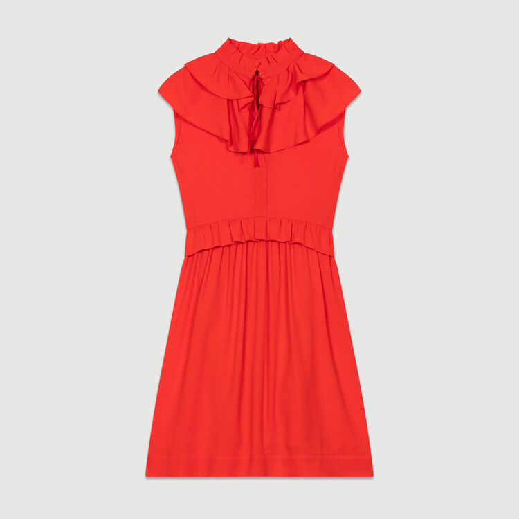 Sleeveless crepe dress : Dresses color ROUGE